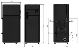 Poza Dimensiuni Centrala termica pe peleti Ferroli BioPellet Tech SC 23S - 23 kW