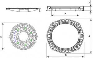 Poza Dimensiuni Capac fonta carosabil ventilat clasa D FCD805V - 40 tone