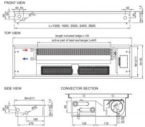 Poza Schema Ventiloconvector de pardoseala ingropat ISAN PRACTIC FST40-11