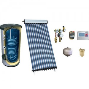 poza Pachet solar aport incalzire casa 300 MP 300 tuburi vidate HEAT PIPE PANOSOL C403 si boiler tanc in tanc 1500/300 L