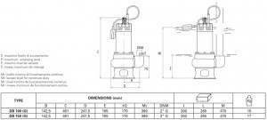 Poza Pompa submersibila de drenaj FORAS DB 150 G - dimensiuni