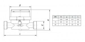 Poza Dimensiuni Contor apa rece monojet cu cadran uscat APATOR JS 1.6 SMART C+ DN 20