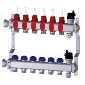 poza Distribuitor din inox PURMO PREMIUM LINE cu debitmetre si robineti termostatati 5 circuite