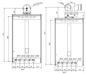 Poza Centrala termica in condensare Ferroli Bluehelix Prima 24 C - dimensiuni