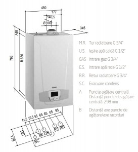 Poza Dimensiuni Centrala termica in condensare Baxi Luna Platinum+ 24 GA Combi