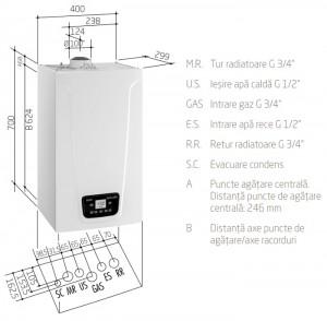 Poza Centrala termica BAXI DUO-TEC COMPACT E - dimensiuni