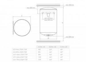 Poza Dimensiuni Boiler electric TESY BiLight Slim GCV 804420 B11 TSR - 80 litri