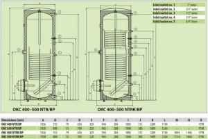 Poza Boiler indirect cu dubla serpentina cu flansa DRAZICE OKC NTRR/BP 500  - 500 litri - dimensiuni