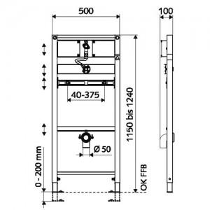 Poza Rama pisoar cu set de spalare SCHELL MONTUS C 115 - dimensiuni