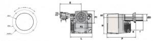 Poza Arzator gaz NC29 GX207A DN30/30 T1 - dimensiuni