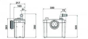 Poza Pompa pentru ape uzate SANITOP SILENCE - dimensiuni