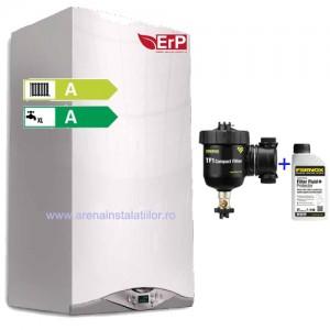 Pachet Centrala termica Ariston CARES PREMIUM 24 EU, kit de evacuare inclus, Filtru anti-magnetita FERNOX TF1 COMPACT + fluid protector