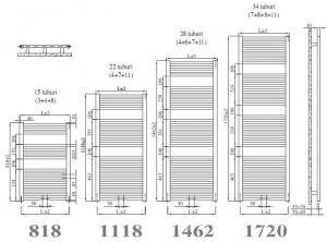 Poza Calorifer de baie IRSAP ARES - dimensiuni
