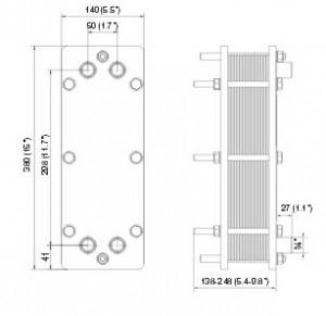 Poza Schimbator de caldura cu placi ALFA LAVAL T2 - dimensiuni