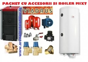poza Pachet centrala termica pe lemne Viadrus 20 kW cu accesorii si boiler ELDOM  Termo 120 L